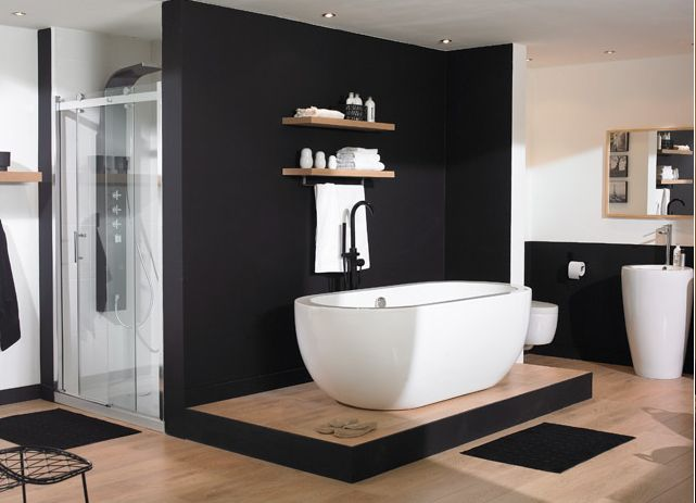 une salle de bain en noir et blanc mes petites puces. Black Bedroom Furniture Sets. Home Design Ideas