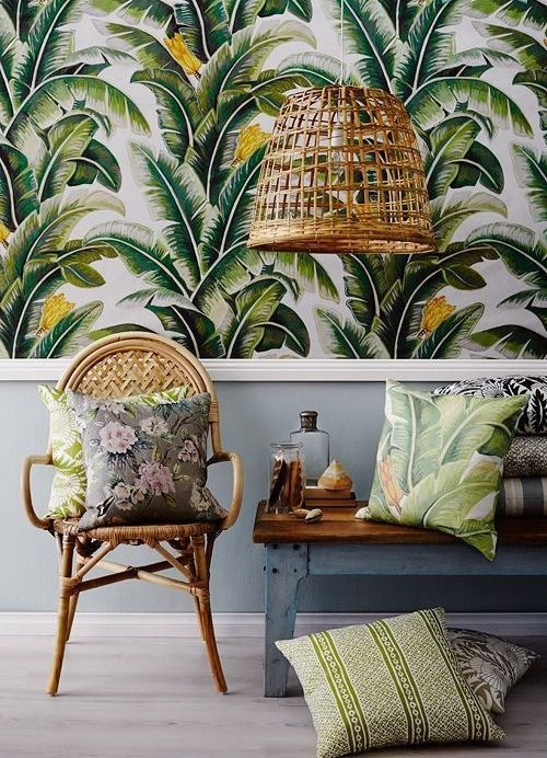 urban, jungle, tropical, miami, decoration, tendance, nature, interieur, déco, exotique, flamant, ananas, cactus, bleu paon