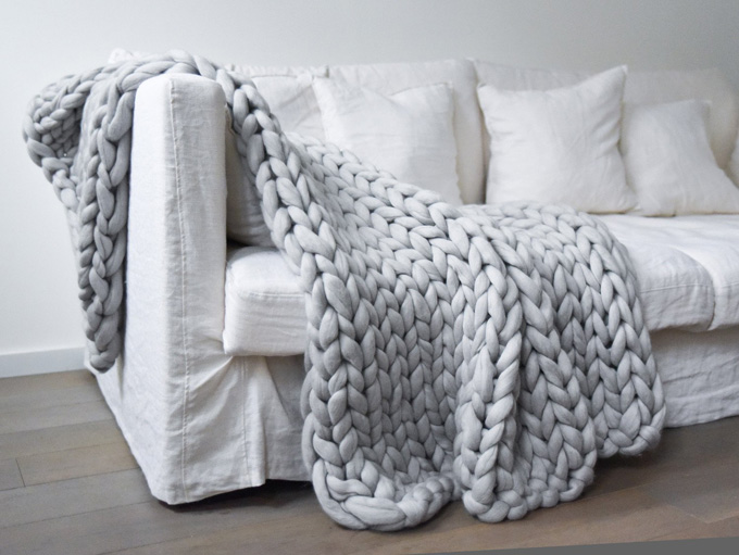 Couverture grosse maille xxl chunky blanket mes petites puces - Grosse couverture en laine ...