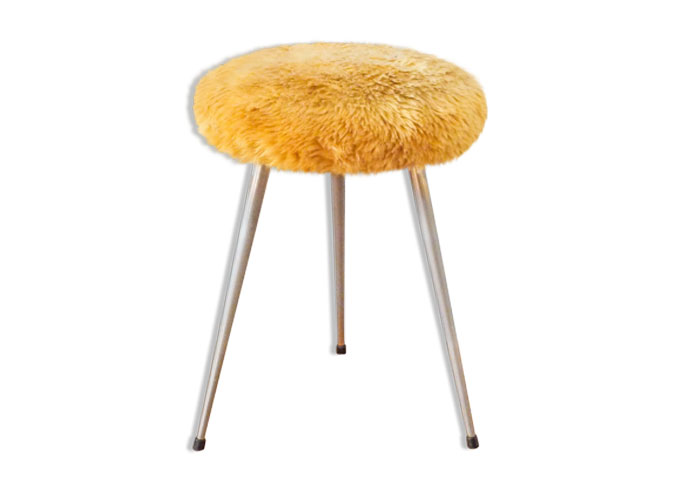 tabouret, moumoute, vintage, fourrure, orange, métal, mousse, déhoussable